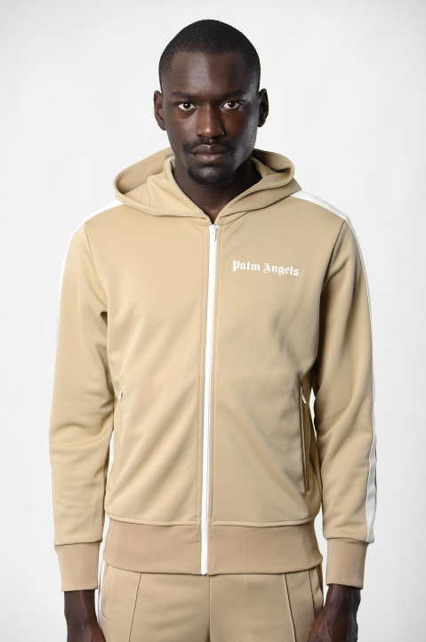 PALM ANGELS Beige Hooded Track Jacket 1