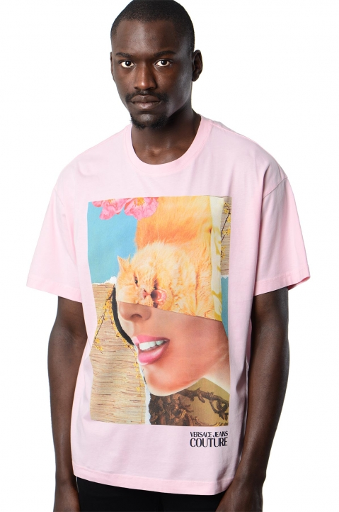 VERSACE JEANS COUTURE Kitty Woman Pink Tee 0