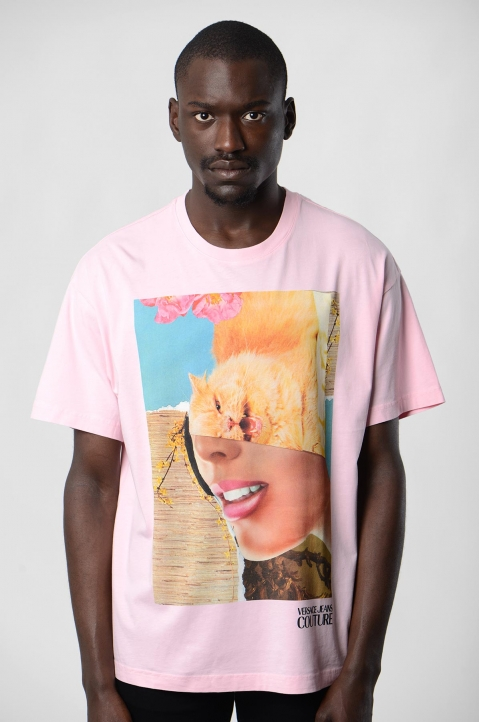 VERSACE JEANS COUTURE Kitty Woman Pink Tee 1