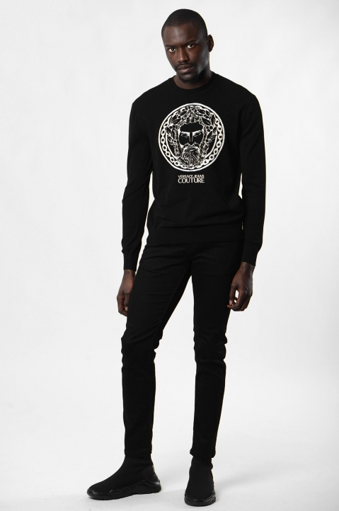 VERSACE JEANS COUTURE Greek God Jacquard Black Sweater 3