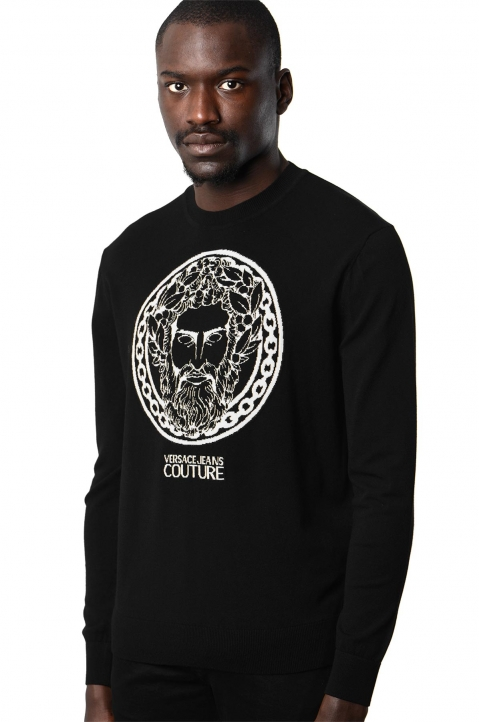 VERSACE JEANS COUTURE Greek God Jacquard Black Sweater 0