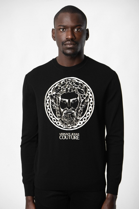 VERSACE JEANS COUTURE Greek God Jacquard Black Sweater 1