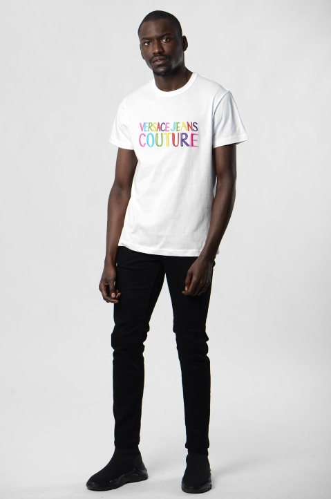 VERSACE JEANS COUTURE Rainbow Logo White Tee 3