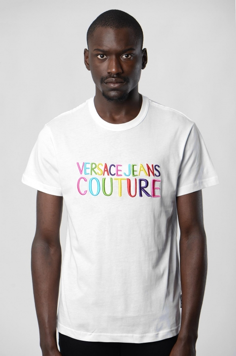 VERSACE JEANS COUTURE Rainbow Logo White Tee 1