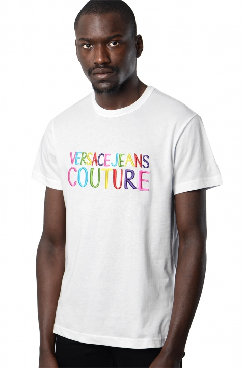 VERSACE JEANS COUTURE Rainbow Logo White Tee 0