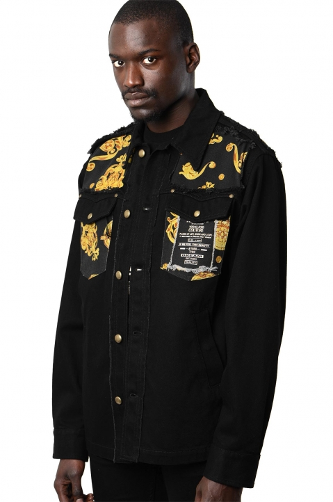 VERSACE JEANS COUTURE Cut Out Black Denim Jacket 0