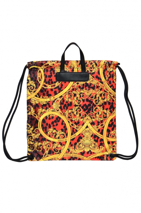 VERSACE JEANS COUTURE Red Leo Baroque Drawstring Backpack 1
