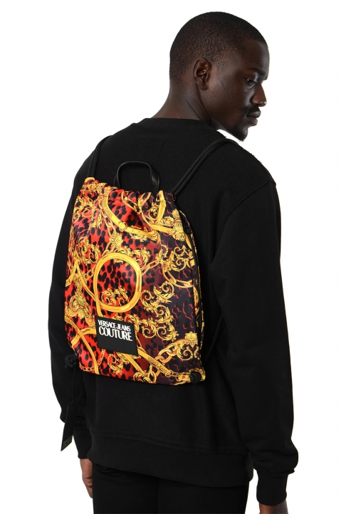 VERSACE JEANS COUTURE Red Leo Baroque Drawstring Backpack 2