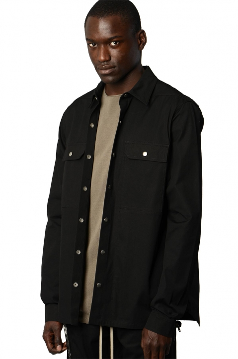 RICK OWENS Black/Pearl Woven Outershirt 0