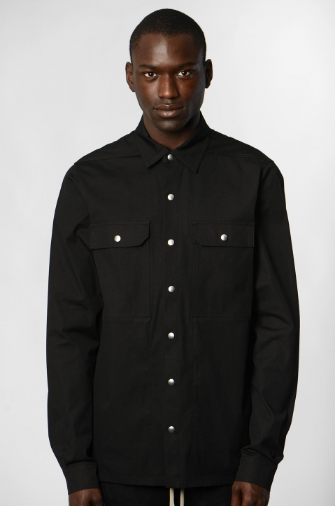 RICK OWENS Black/Pearl Woven Outershirt 1