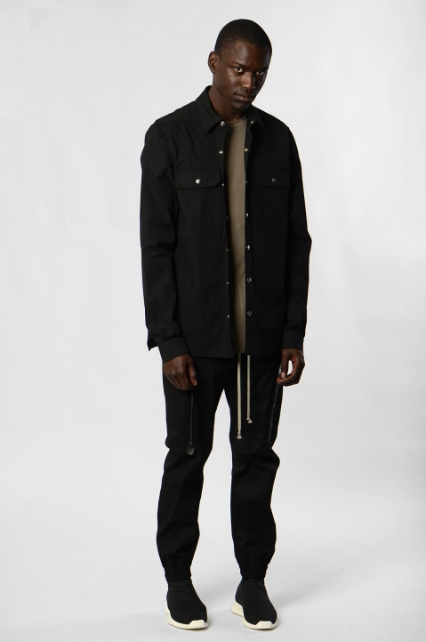 RICK OWENS Black/Pearl Woven Outershirt 3