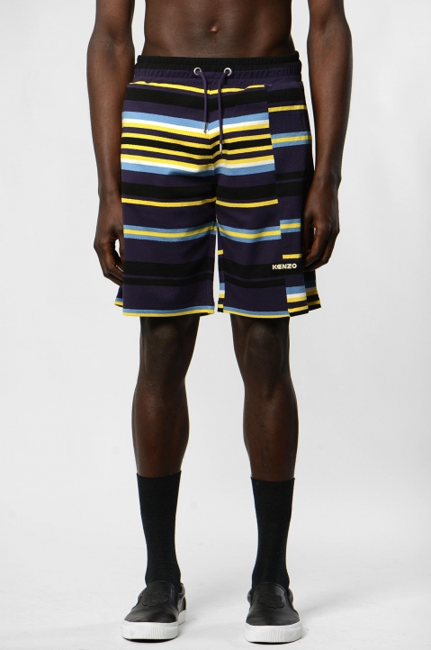 KENZO Purple Knit Striped Shorts 1