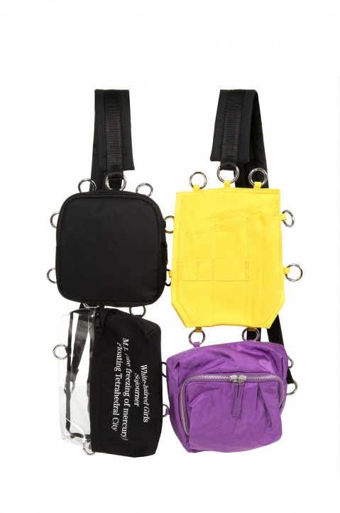 RAF SIMONS X EASTPAK Pocketbag Loop Quote Purple/Yellow  0