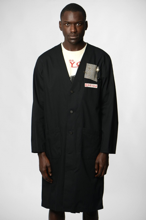 RAF SIMONS Woven Black Lab Coat w/ Pins 1