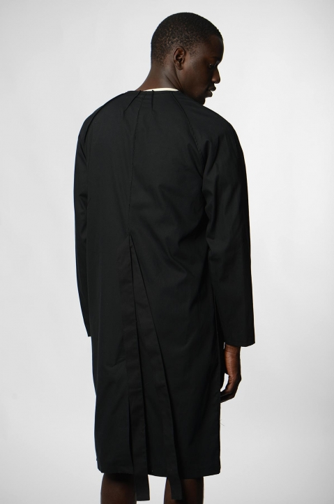 RAF SIMONS Woven Black Lab Coat w/ Pins 2
