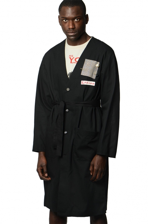 RAF SIMONS Woven Black Lab Coat w/ Pins 0