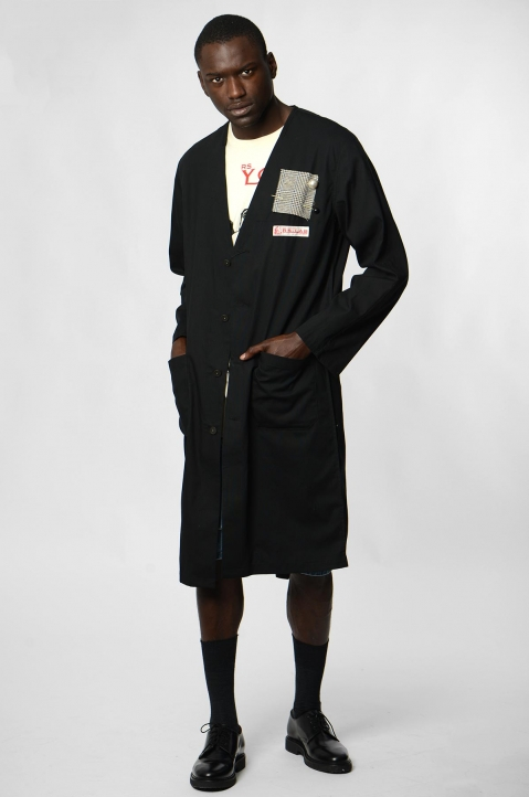 RAF SIMONS Woven Black Lab Coat w/ Pins 4