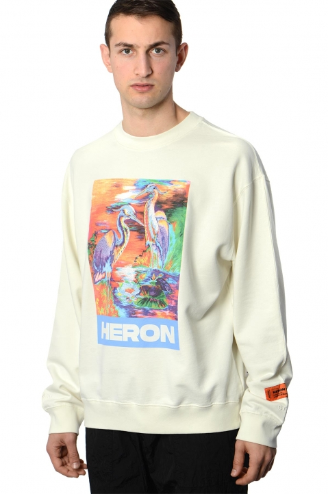 HERON PRESTON Colors Heron White Sweatshirt 0