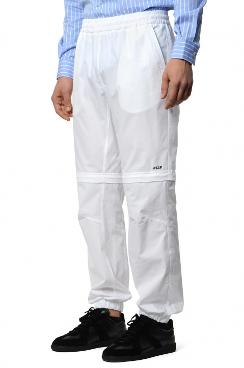 MSGM White Convertible Trackpants 0