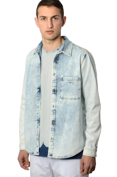MSGM Acid Wash Denim Shirt 0