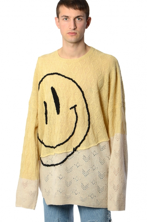 RAF SIMONS Collage Smiley Oversized Sweater 0
