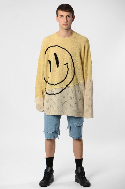 RAF SIMONS Collage Smiley Oversized Sweater 3
