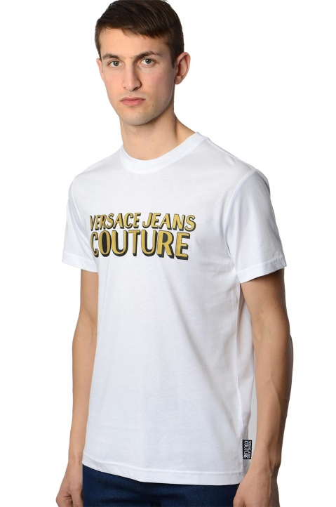 VERSACE JEANS COUTURE Golden Logo White Tee 0