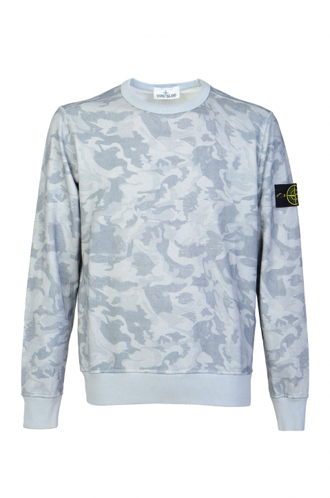 STONE ISLAND Blue Camo Sweater 0