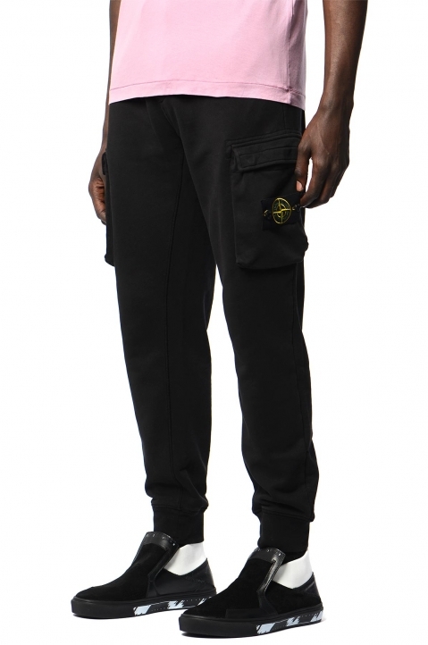 STONE ISLAND Black Cargo Sweatpants 0