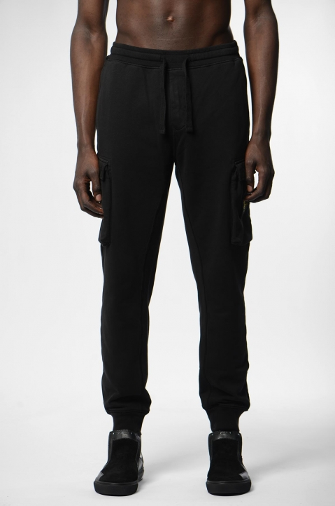 STONE ISLAND Black Cargo Sweatpants 1