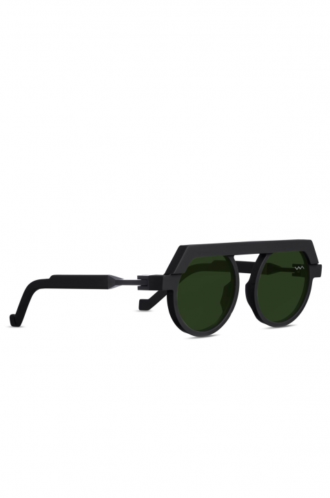 VAVA BL0021 Black Matte Sunglasses w/ Green Lenses 1