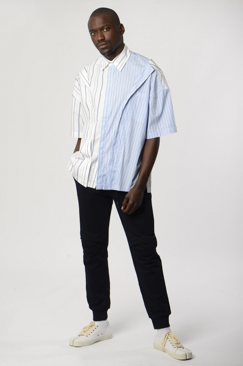 FENG CHEN WANG 2-In-1 Draped Stripe Shirt 3