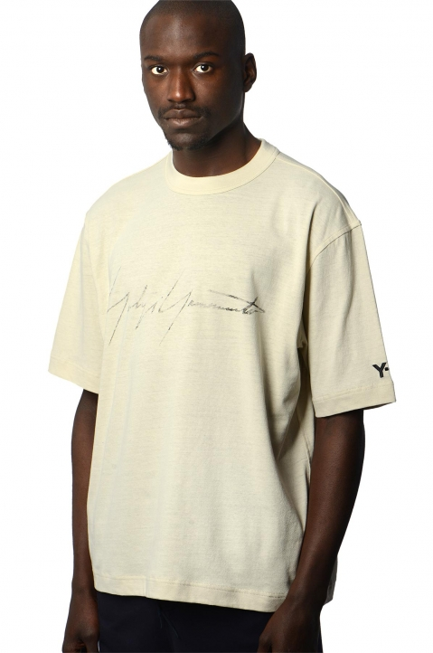 Y-3 Faded Signature Beige Tee 0