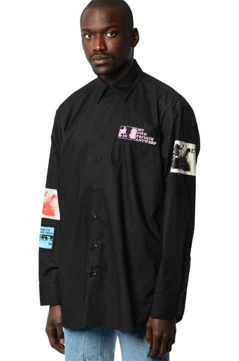 RAF SIMONS Oversized Patches Black Shirt  0