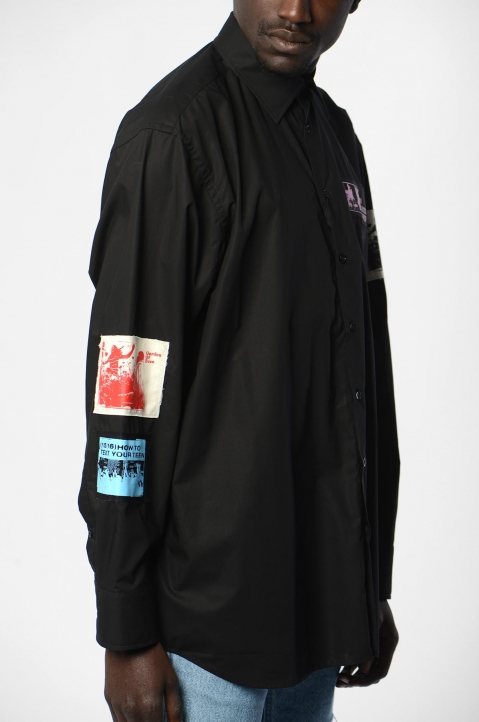 RAF SIMONS Oversized Patches Black Shirt  2