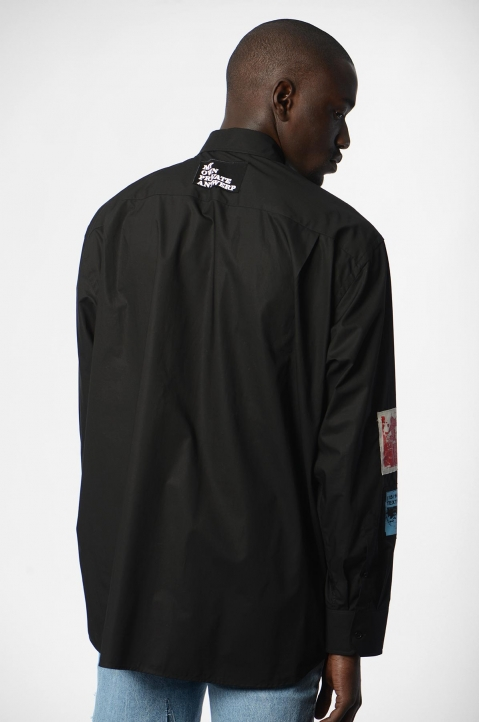 RAF SIMONS Oversized Patches Black Shirt  1
