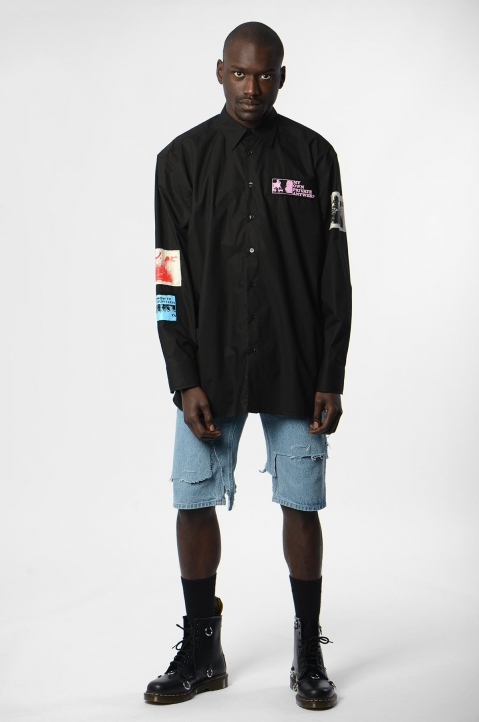 RAF SIMONS Oversized Patches Black Shirt  4