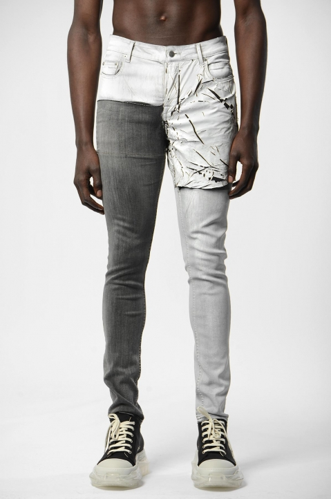 RICK OWENS Tyrone Collage Wax Skinny Jeans 1