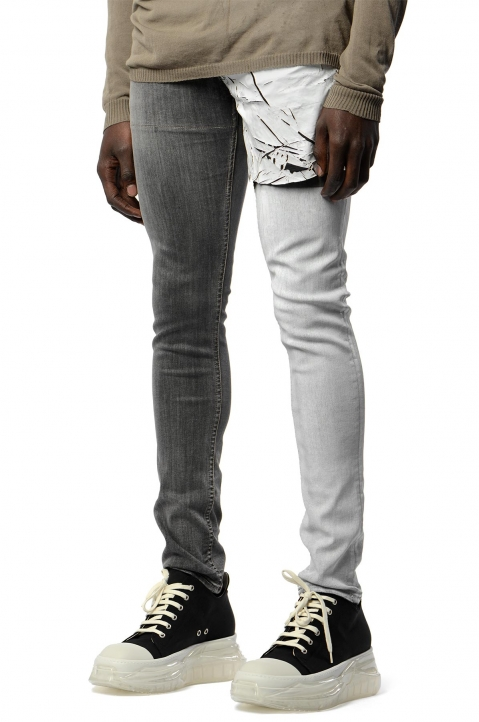 RICK OWENS Tyrone Collage Wax Skinny Jeans 0