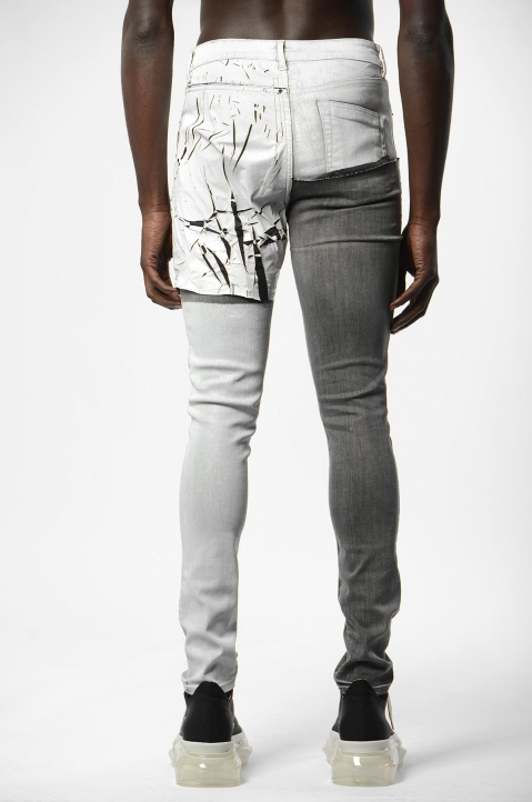 RICK OWENS Tyrone Collage Wax Skinny Jeans 2