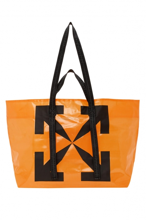 OFF-WHITE Orange Tyvek Arrow Tote Bag  0