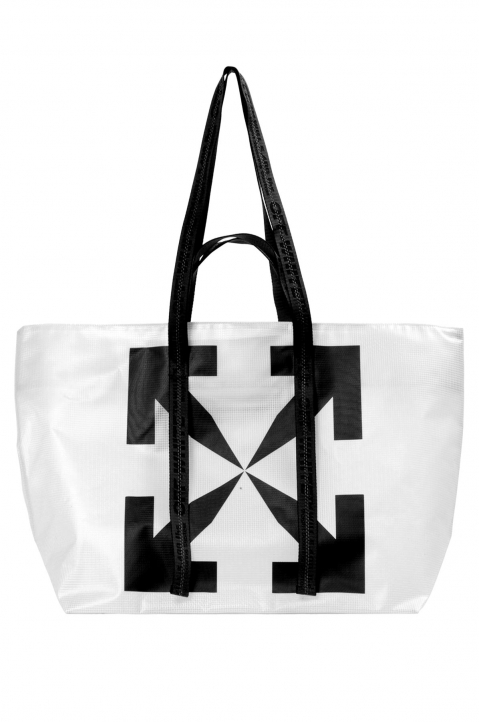OFF-WHITE Transparent Tyvek Arrow Tote Bag  0