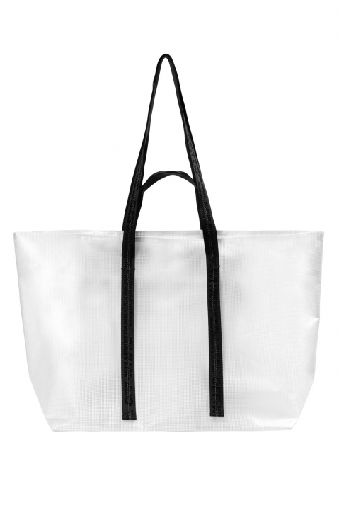 OFF-WHITE Transparent Tyvek Arrow Tote Bag  2