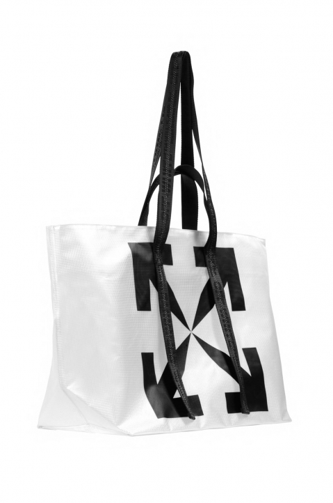 OFF-WHITE Transparent Tyvek Arrow Tote Bag  1