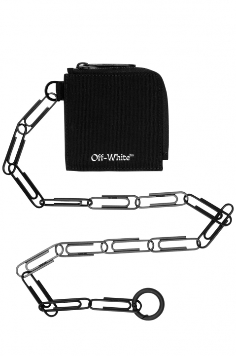 OFF-WHITE Black Logo Zip Chain Wallet 0