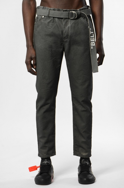 OFF-WHITE Slim Low Crotch Cropped Grey Jeans 1