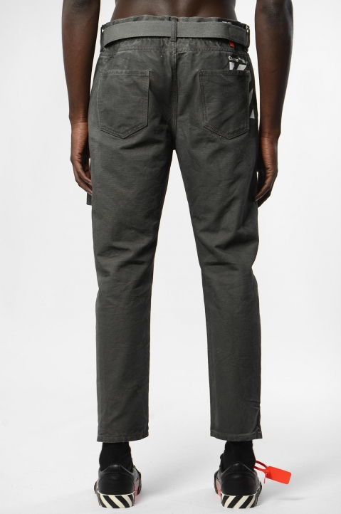 OFF-WHITE Slim Low Crotch Cropped Grey Jeans 2