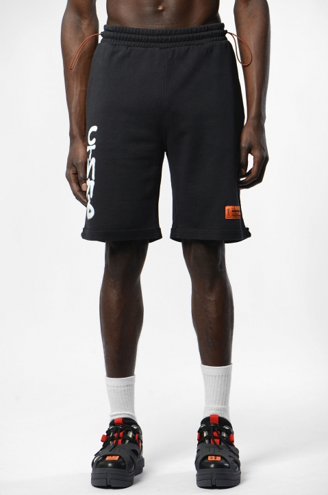 HERON PRESTON Black Spray Fleece Shorts 1