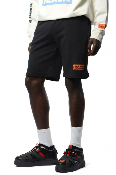 HERON PRESTON Black Spray Fleece Shorts 0
