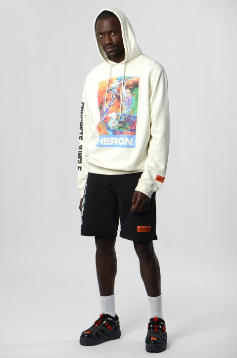 HERON PRESTON Black Spray Fleece Shorts 4